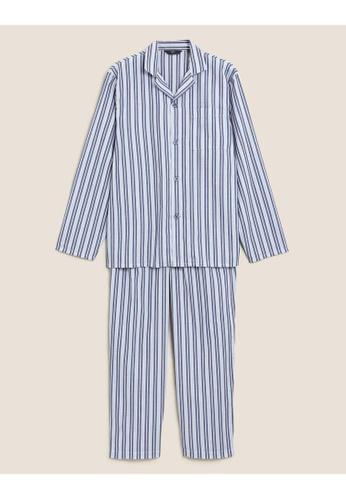 MARKS & SPENCER blue M&S Cotton Striped Pyjama Set 74A4EAAAB495EFGS_1