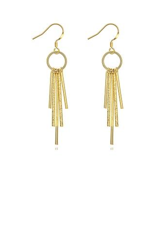 Glamorousky silver Simple Golden Tassel Earrings 7C5EEAC1F67D4CGS_1