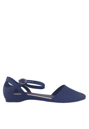 Twenty Eight Shoes 藍色 尖頭中空果凍膠平底鞋 VR5139 CD971SHCF5B474GS_1