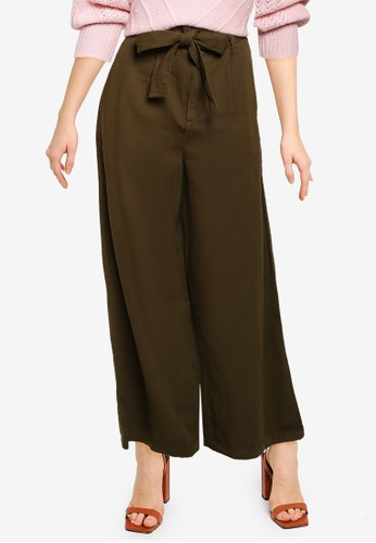 Miss Selfridge green Khaki Wide Leg Trousers 802DAAAE18BB2DGS_1