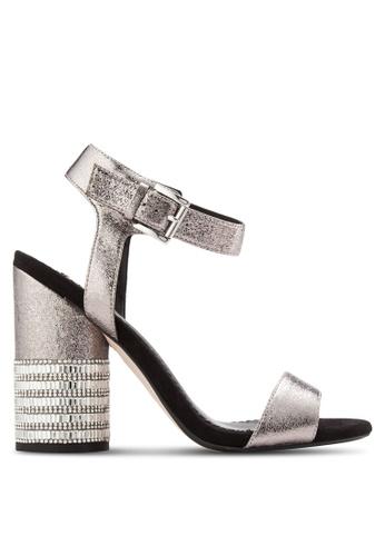 Miss Selfridge silver Castle Jewel Heel Sandals MI665SH41YNEMY_1