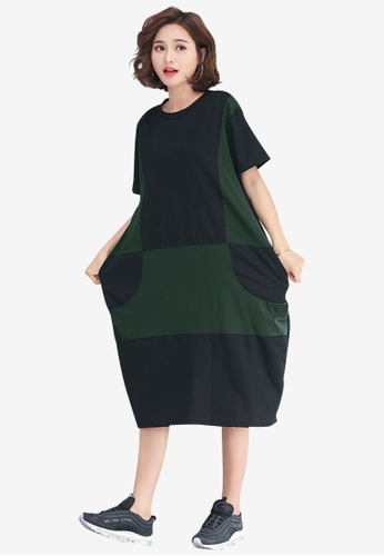 Lara black and green Women's Colorblock Dress 1B209AA6C7A288GS_1