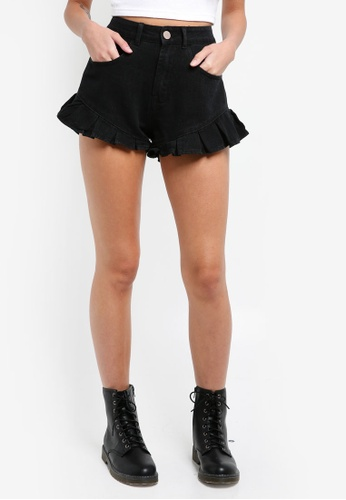 LOST INK black Petite Ruffle Hem Shorts FCD3BAAA219972GS_1