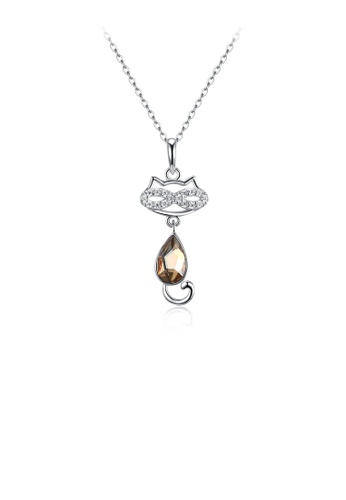 Glamorousky gold 925 Sterling Silver Cat Pendant with Champagne Gold Austrian Element Crystal and Necklace E68A4ACA66B373GS_1