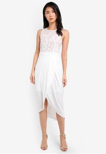 Preen & Proper white Sleeveless Draped Skirt Dress PR614AA0S9V2MY_1