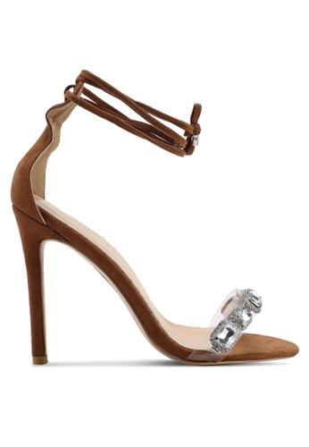 Public Desire 褐色 麂皮鑽飾繞帶高跟鞋 A2313SHD04924AGS_1