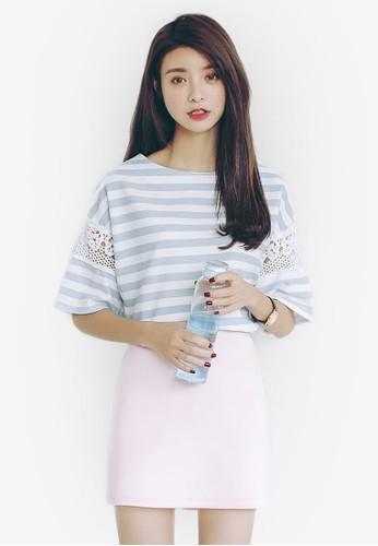 蕾絲細esprit hk outlet節條紋上衣, 服飾, 上衣