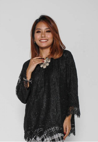 Naphthys Collection black Darina Lace Bell Sleeves Blouse 2B818AA1F9B7CAGS_1