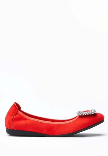 PAZZION red Diamente Buckle Front Suede Flats DBF93SH79A7D0EGS_1