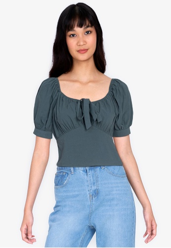 ZALORA BASICS green Off Shoulder Tie Front Ruched Top F9D17AA6B38AE4GS_1