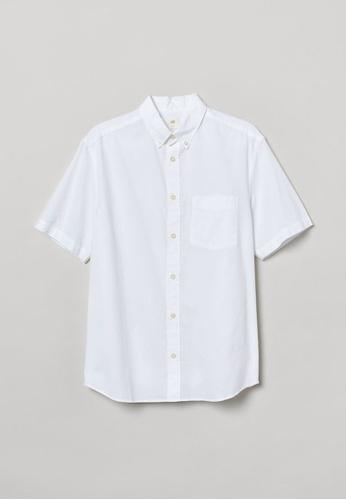 H&M white Short-Sleeved Shirt BD712AA4739917GS_1