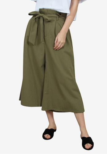 Caoros green Wide Leg Cullote Pants 88DA8AA67048EBGS_1