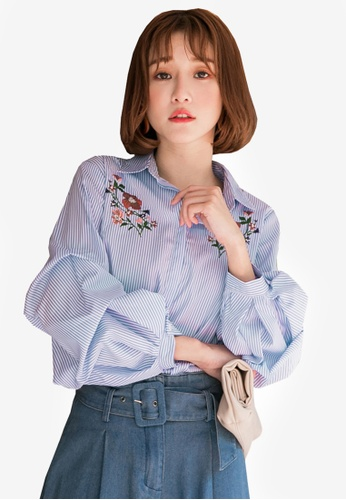 Tokichoi blue Embroidered Striped Shirt B3CFCAA6BCC7CDGS_1