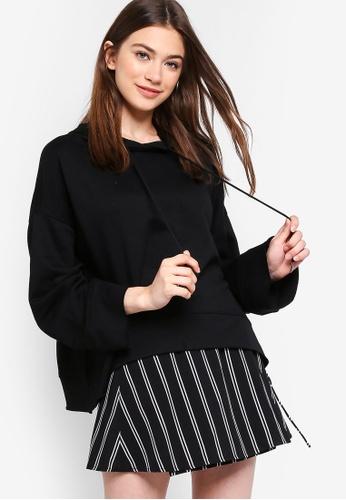 Something Borrowed black Wide Sleeves Cropped Hoodie 039EAAAC19ED66GS_1