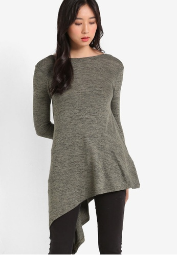 Miss Selfridge green Petite Asymmetric Hem Tunic MI665AA90UNHMY_1