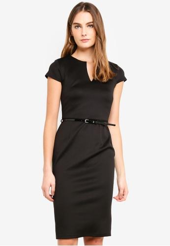 Dorothy Perkins black Black Notch Belted Pencil Dress B6DBBAA37D01D6GS_1