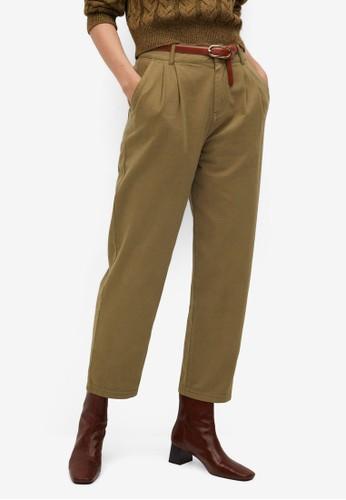 Mango beige Cotton Pleated Trousers 9AC5BAAC499A4EGS_1