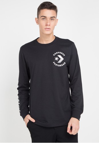 Converse black Fast Break Long Sleeve T-Shirt 2D6EFAAAC60AEAGS_1