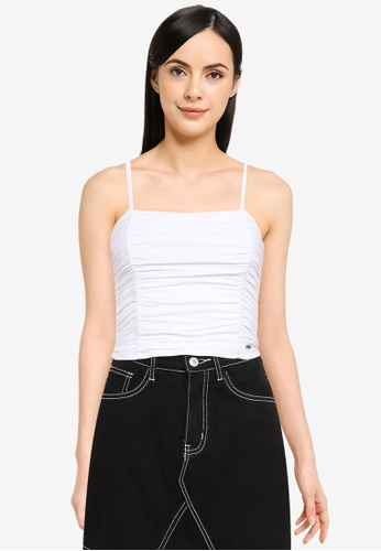 Hollister white Side Cinch Shirred Cami Top 66944AAB453FC9GS_1