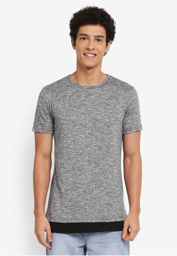 Factorie 黑色 短袖混色拼接T恤 533EDAAB0E5405GS_1