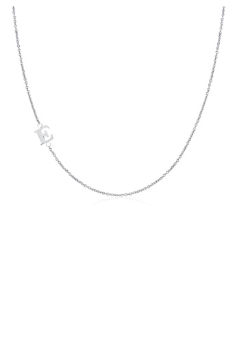 Moody Mood silver .925 Sterling Silver Sideway Letter E Necklace (18k white gold plating) F0826AC2EE2F8FGS_1