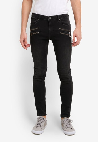Topman black Washed Black Double Zip Spray On Jeans TO413AA0SHQ9MY_1