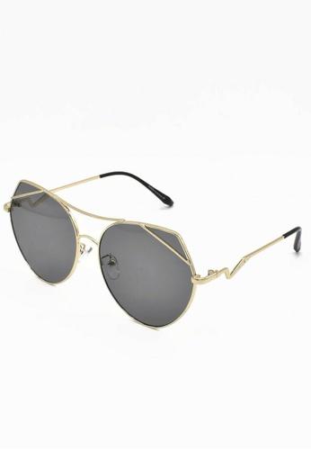 Dandelion black and gold Metal Cateye Sunglasses 9B080GLA14C469GS_1
