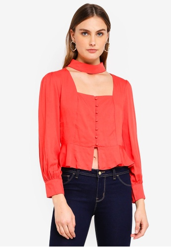 Glamorous red Buttoned Down Top 72507AA72182F1GS_1