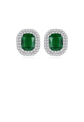 Glamorousky white Elegant Bright Geometric Green Cubic Zirconia Stud Earrings E8A5DACFFCC8B3GS_1