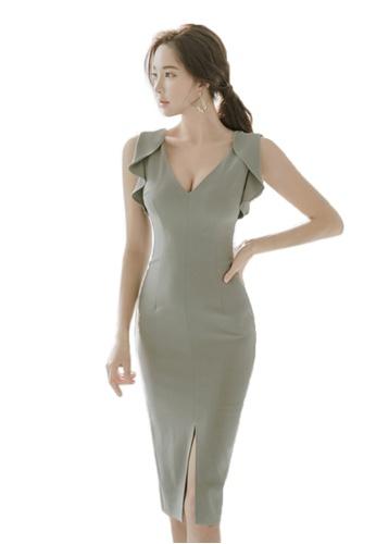 Sunnydaysweety grey S/S New  Sleeveless V-Neck One Piece Dress CA041804-0 380FDAA0DF9050GS_1