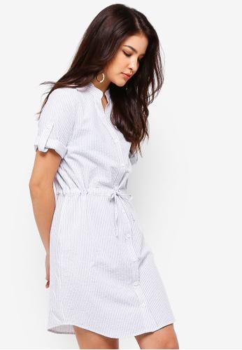 ZALORA grey and multi Button Down Pull String Shirt Dress B65E2AA5DBABF6GS_1