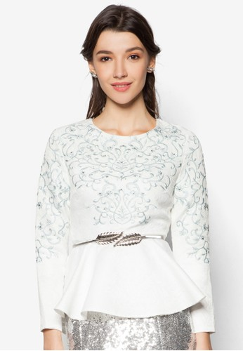 Jacquard Embroidered Pzalora時尚購物網的koumi koumieplum Top, 服飾, 上衣