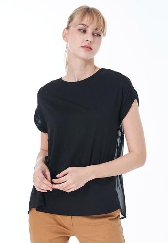 Sisley black Round Neck T-shirt 4BD2BAAF2740B7GS_1