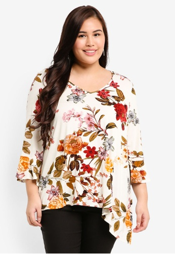 Dorothy Perkins white Plus Size Ivory Floral Jersey Top F0211AADF24E4FGS_1
