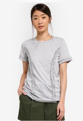 Dorothy Perkins grey Grey Frill Short Sleeve T-Shirt 21187AAD3CD857GS_1