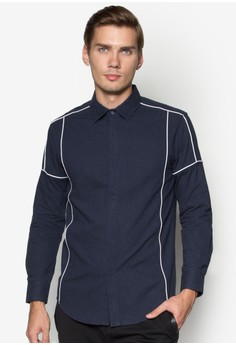 XM-Brushed Cotton Long Sleeve Shirt With Piping