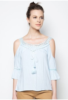 Cold Shoulder Top With Lace Trim & Tassle