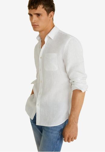 Mango Man 白色 Linen Regular Fit Shirt 7337DAA8CB83C3GS_1