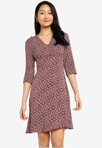 ZALORA BASICS red Long Sleeve Mini Tea Dress 1967AAA11C96C7GS_1