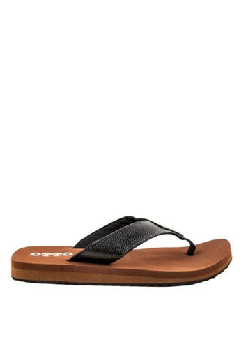 Otto black and brown Basic Slide Sandals EA655SHD15AD1FGS_1