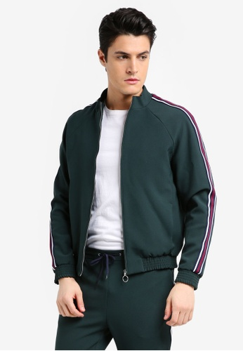 Topman green Green Zip Through Smart Track Top With Side Taping 358BBAA9531A0EGS_1