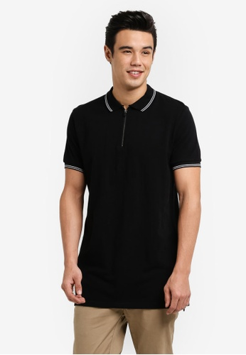 Cotton On black Ae Short Sleeve Longline Zip Polo Shirt CO372AA03JQYMY_1
