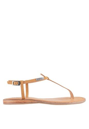 Les Tropeziennes Par M. Belarbi brown Narbuck Tan T-Strap Leather Sandals 0F123SH39B56DFGS_1