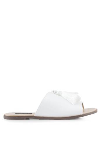ZALORA white Faux Leather Tassel Flat Sandals BBDEBSH06B325EGS_1