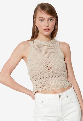 Trendyol beige Crochet Knit Detail Top 23DCBAABBDFBF0GS_1