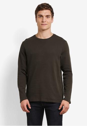Burton Menswear London green Khaki Waffle Textured T-Shirt BU964AA0S2BOMY_1