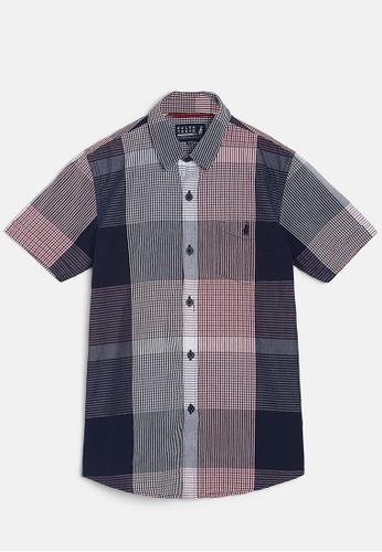 ZALZA red and navy Snow Drop 100% Organic Cotton Woven Boys Short Sleeve Shirt - Navy/Red 7B34AKA2DB761CGS_1