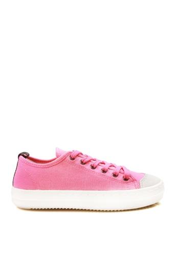 J.DAUL 粉紅色 經典厚底真皮帆布休閒鞋 JD556SH09Q5PTW_1
