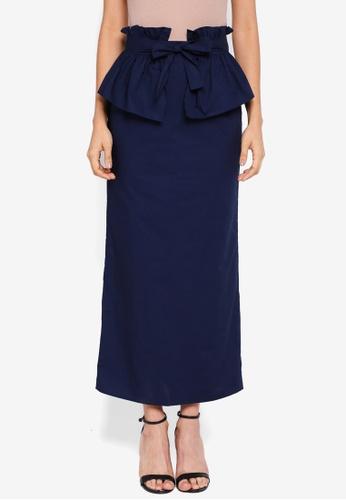 Lubna blue Tiered Full Skirt E6ED2AA8AAF13DGS_1