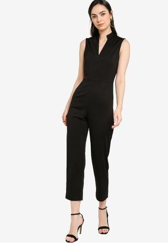 ZALORA WORK black Zip Front Sleeveless Jumpsuit 85135AA21D3F0DGS_1